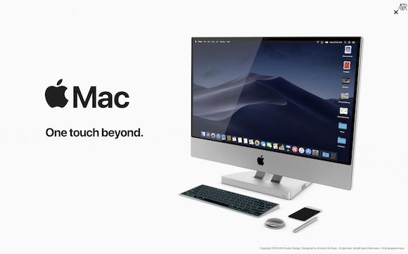「Mac Touch」のコンセプトデザイン、タッチスクリーン式キーボードが便利そう