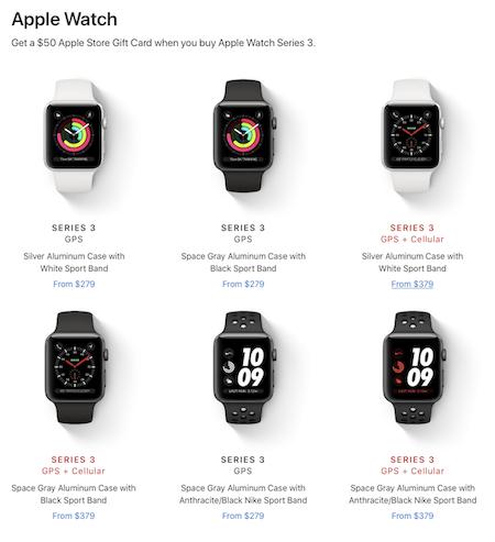 Apple Watch:Apple Watch Series 3の一部モデル購入で50ドル(約5,600円)のギフトカード