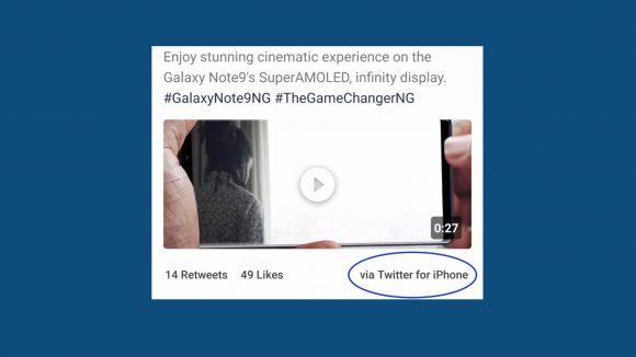 Samsung、Note9ディスプレイの宣伝を「iPhone」からツイート