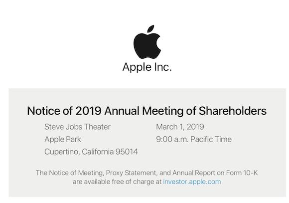 Apple、株主総会を3月1日に開催すると発表