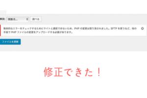 【エラー修正】致命的なエラーをチェックするためにサイトと通信できないため、PHPの変更は取り消されました。